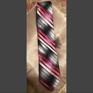 ( XL )Stacy Adams Grey & Pink Striped Tie